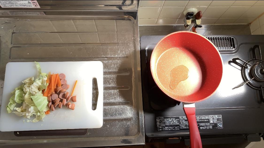 ②肉野菜炒めは別に作る