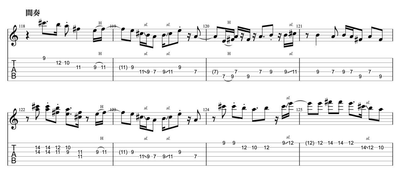 明くる日の忘却|beco(騒音のない世界)のギターフレーズ解説!【楽譜(tab譜)付】 間奏