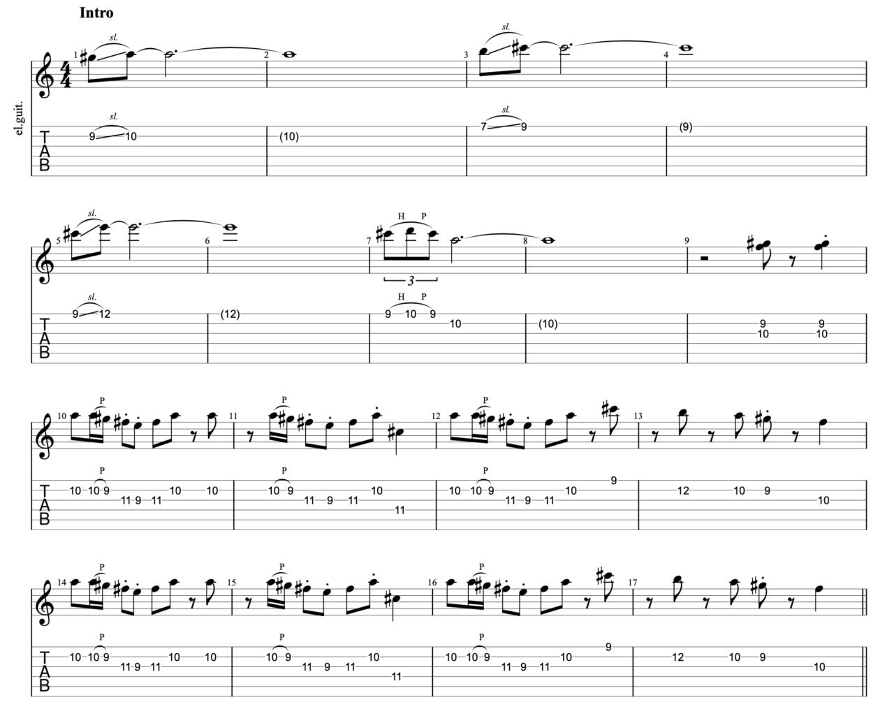明くる日の忘却|beco(騒音のない世界)のギターフレーズ解説!【楽譜(tab譜)付】 イントロ