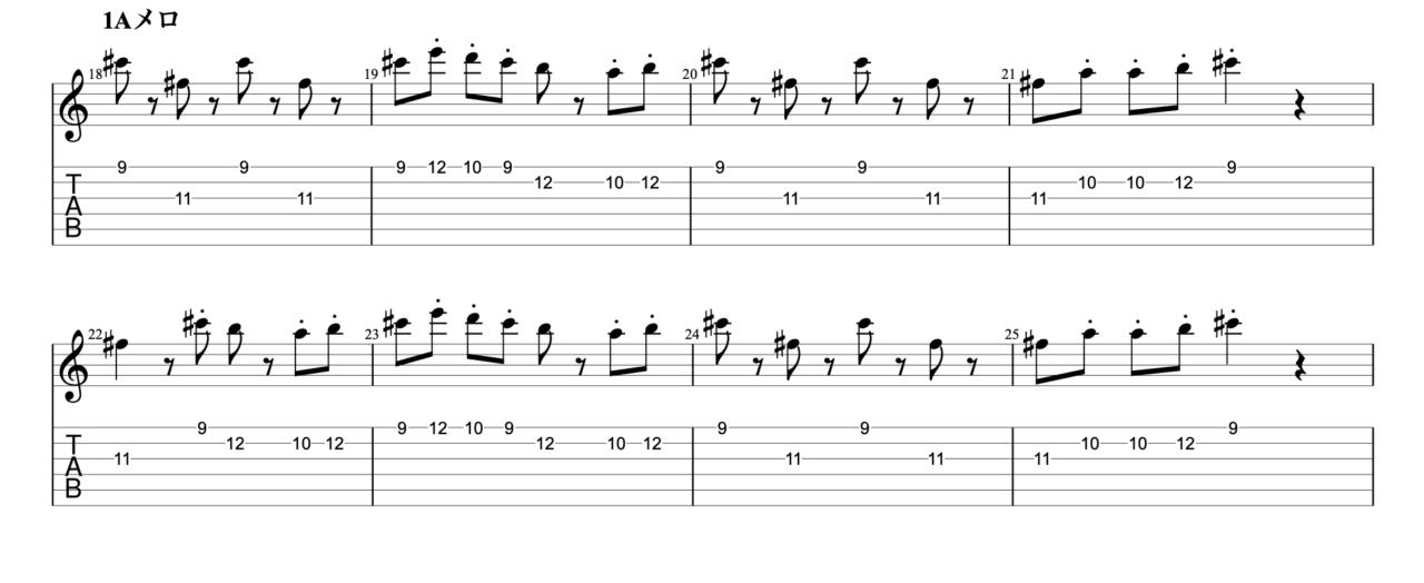 明くる日の忘却|beco(騒音のない世界)のギターフレーズ解説!【楽譜(tab譜)付】 Aメロ