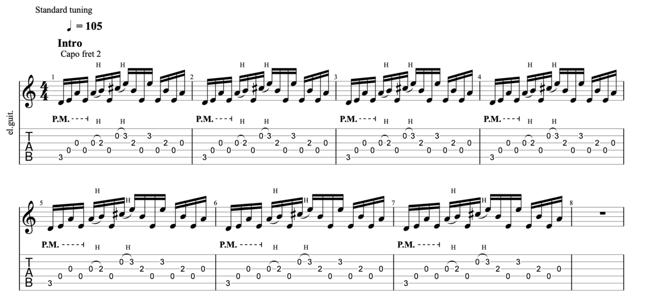 まぼろし|beco(騒音のない世界)のギターフレーズ解説!【楽譜(tab譜)付】 イントロ