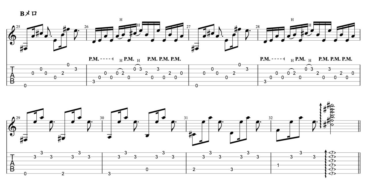 まぼろし|beco(騒音のない世界)のギターフレーズ解説!【楽譜(tab譜)付】 Bメロ