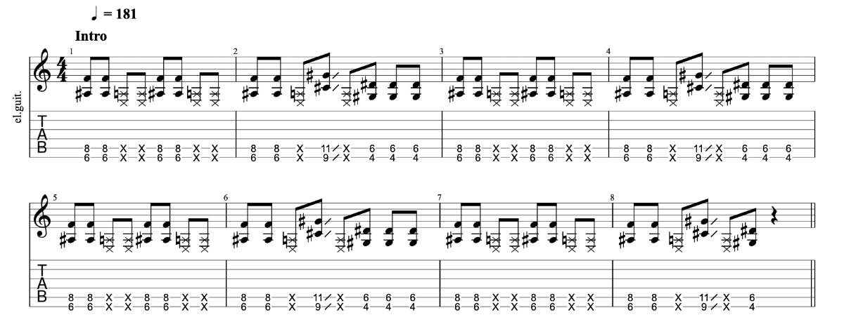 ニンニン忍者 beco(騒音のない世界)のギターフレーズ解説 イントロ