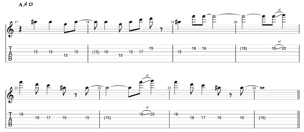 ジェットペンギン beco(騒音のない世界)のギターフレーズ解説 Aメロ