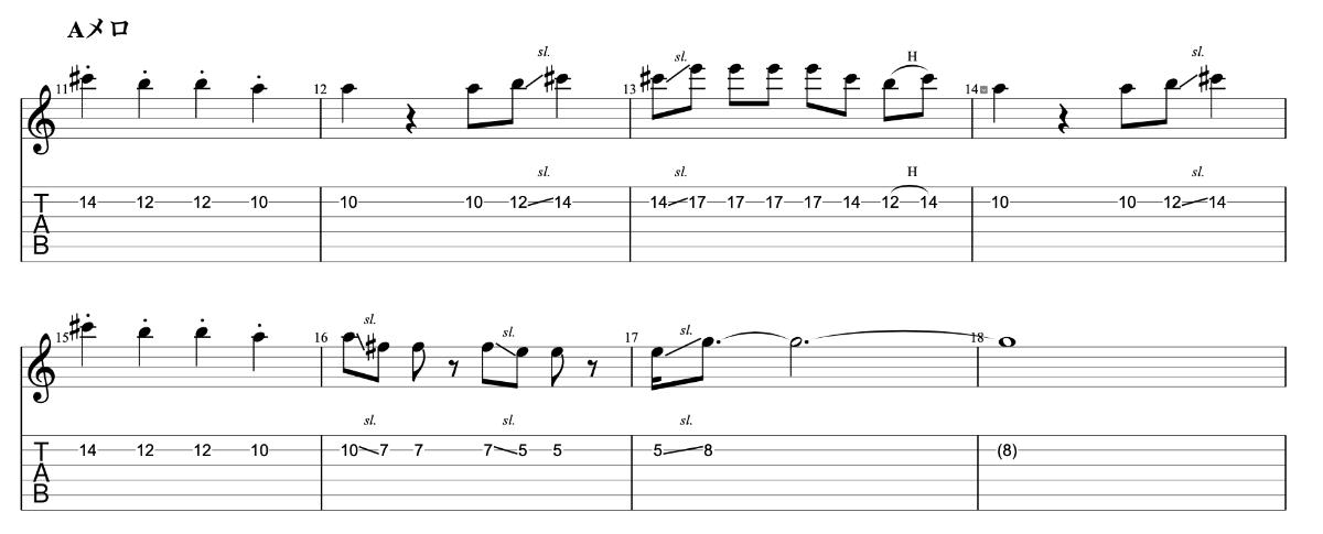ひとり beco(騒音のない世界)のギターフレーズ解説【楽譜(tab譜)付】 Aメロ