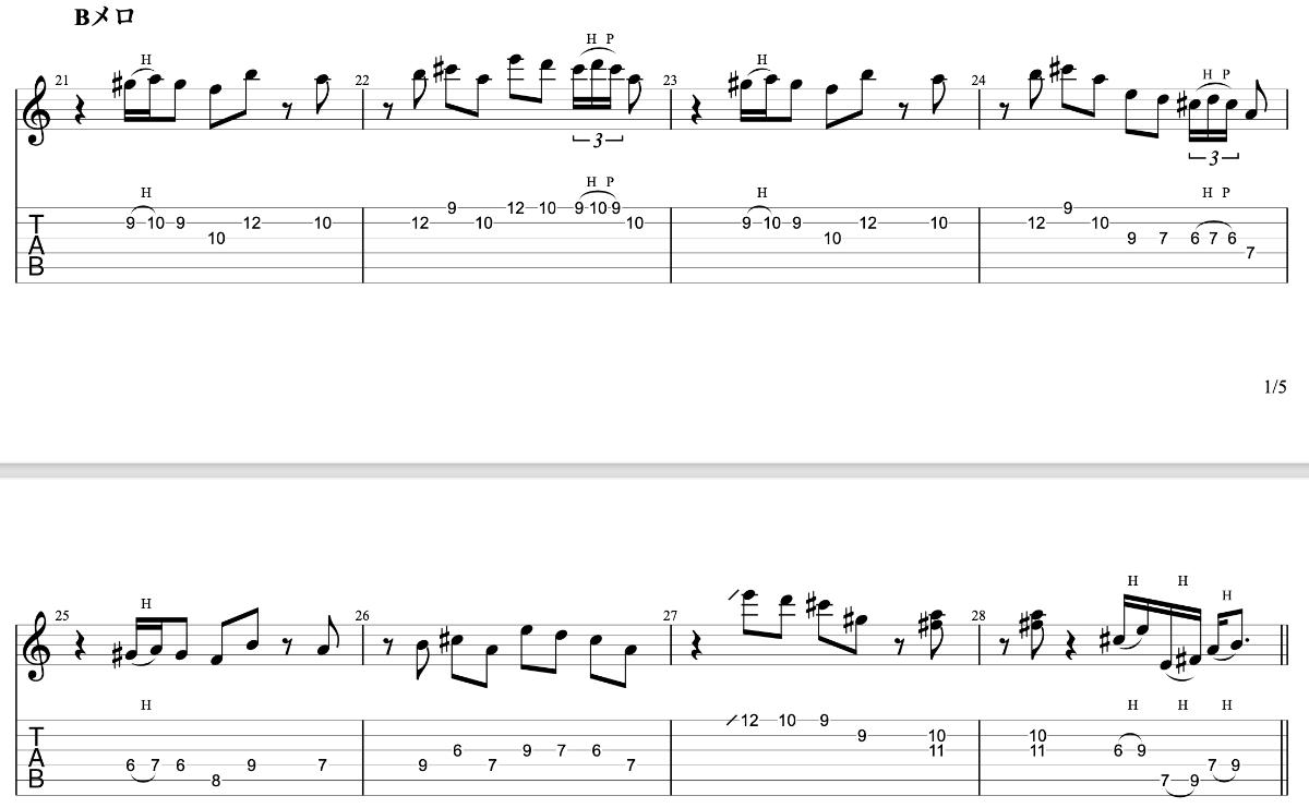亡霊の女の子|beco(騒音のない世界)のギターフレーズ解説 Bメロ