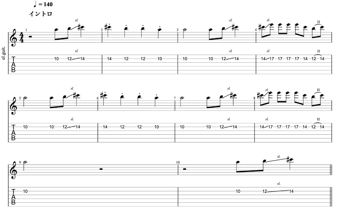 ひとり beco(騒音のない世界)のギターフレーズ解説【楽譜(tab譜)付】 イントロ