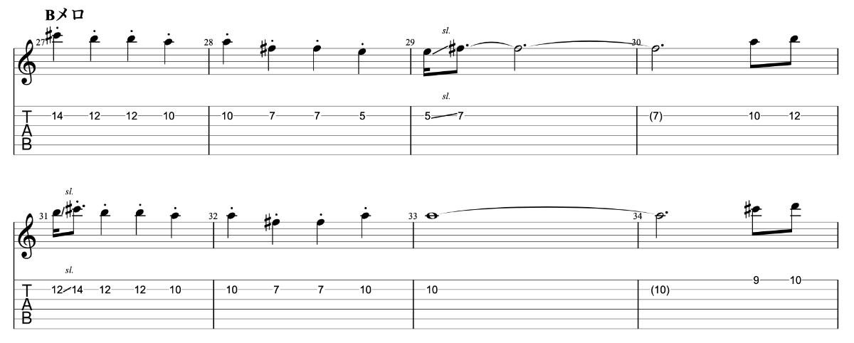 ひとり beco(騒音のない世界)のギターフレーズ解説【楽譜(tab譜)付】 Bメロ