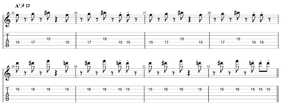 ジェットペンギン beco(騒音のない世界)のギターフレーズ解説 A'メロ