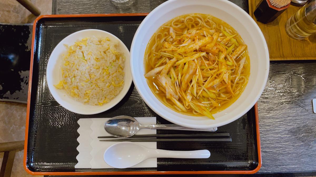 ネギチャーシュー麺+半炒飯