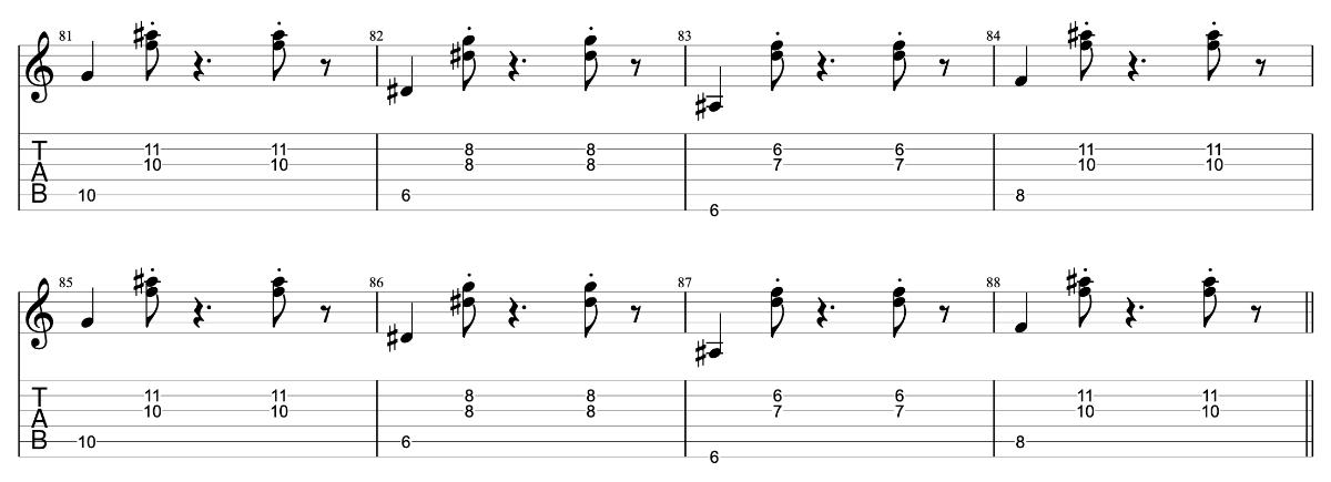 花火 beco(騒音のない世界)のギターフレーズ解説【楽譜(tab譜)付】間奏